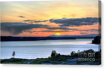 Canvas Print featuring the photograph Showers Over Mcneil Island - Chambers Bay Golf Course by Chris Anderson