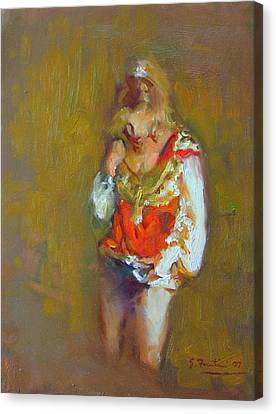 Dressing Room Canvas Print - Showgirl In Orange And Gold by Susanne Forestieri