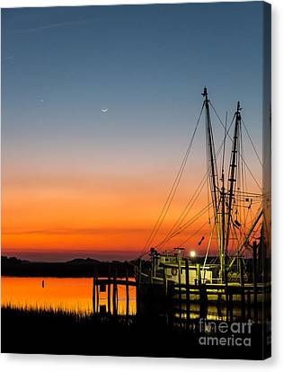 Shrimp Boat At Dusk Folly Beach Canvas Print