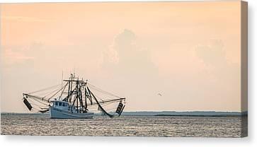 Shrimp Boat At Sunset - Edisto River Photograph Canvas Print by Duane Miller