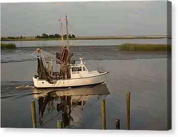 Shrimp Boat On Apalachicola Bay Canvas Print