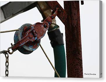 Shrimp Boat Pulley Canvas Print by Paula Rountree Bischoff