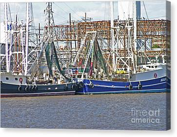 Shrimp Boats 1 Port Arthur Texas Canvas Print by D Wallace