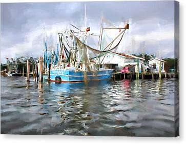 Shrimp Boats At Aquila Seafood Canvas Print by Lynn Jordan