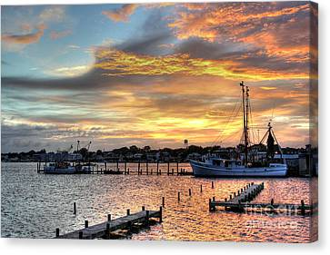 Shrimp Boats At Sunset Canvas Print by Benanne Stiens