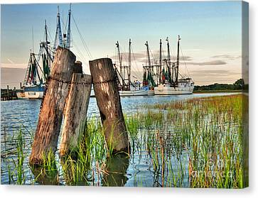 Shrimp Dock Pilings Canvas Print