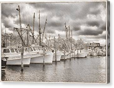 Harkers Island Canvas Print - Shrimpers On Harker's Island by Cindy Archbell