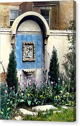 Shrine And Tulips Canvas Print by Terry Reynoldson