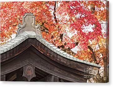 Shrine Roof And Autumn Leaves Arashiyama Kyoto Canvas Print