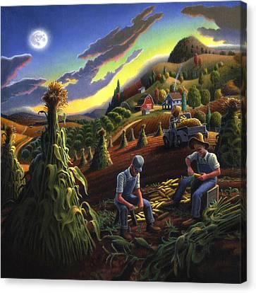 Shucking Corn Harvest Sunset Country Farm Life Landscape - Square Format Canvas Print
