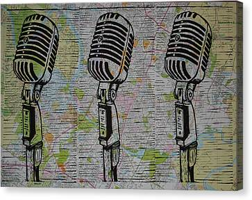 Shure 55s On Map Canvas Print