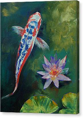 Shusui Koi And Water Lily Canvas Print by Michael Creese