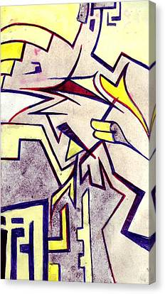 Circuit Board Canvas Print - Shuteye In Yellow by Seb Mcnulty
