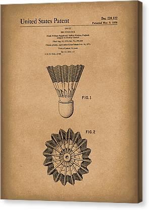 Shuttlecock 1976 Patent Art Brown Canvas Print