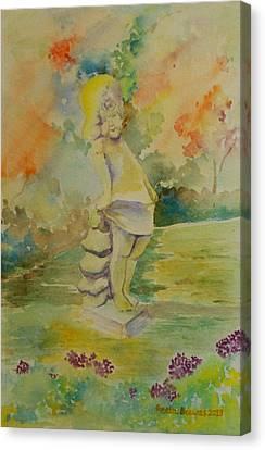 Shy Garden Angel Canvas Print by Geeta Biswas