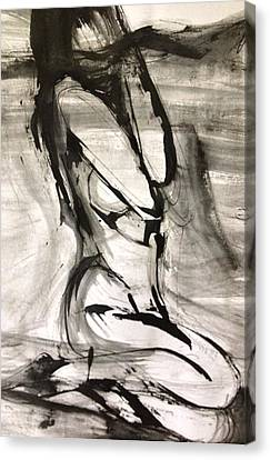 Canvas Print featuring the drawing Shy by Helen Syron