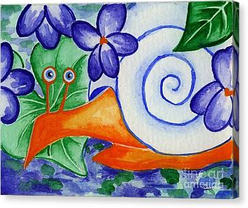 Shy Snail Canvas Print by Lori Ziemba