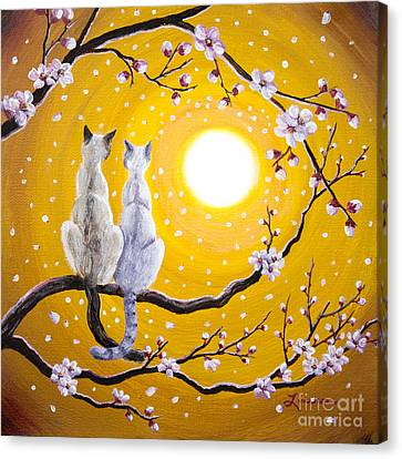 Siamese Cats Nestled In Golden Sakura Canvas Print by Laura Iverson