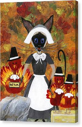 Siamese Queen Of Thanksgiving Canvas Print by Jamie Frier
