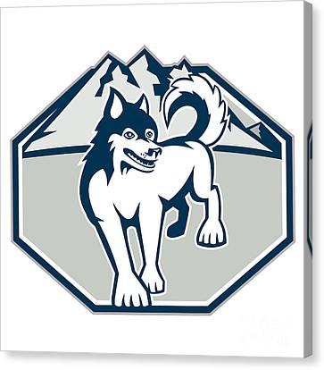 Husky Canvas Print - Siberian Husky Dog Mountain Retro by Aloysius Patrimonio