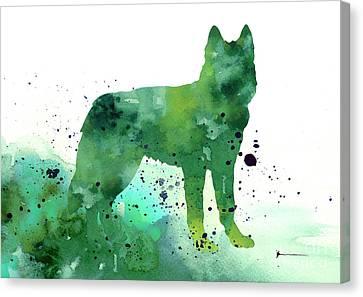 Siberian Husky Dog Silhouette Watercolor Art Print Painting Canvas Print by Joanna Szmerdt
