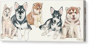 Working Dog Canvas Print - Siberian Husky Puppies by Barbara Keith