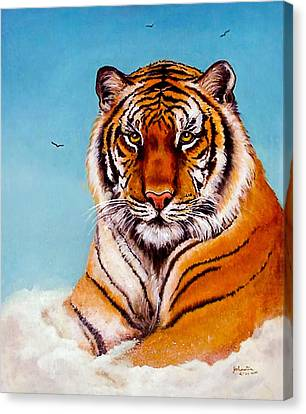 Canvas Print featuring the painting Siberian King Tiger by Bob and Nadine Johnston
