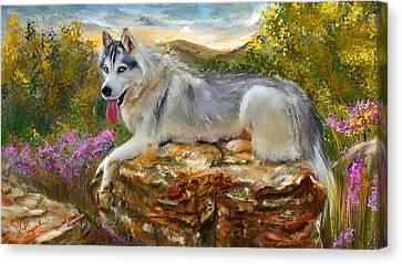 Malamute Canvas Print - Siberian Leisure - Siberian Husky Painting by Lourry Legarde