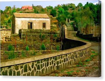 Italian Landscape Canvas Print - Sicilan Roadside View by Cliff Wassmann