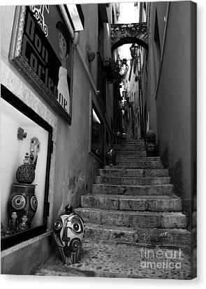 Italian Islands Canvas Print - Sicilian Steps Bw by Mel Steinhauer