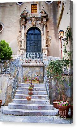 Sicilian Village Steps And Door Canvas Print by David Smith