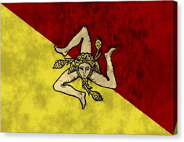 Sicily Canvas Print - Sicily Flag by World Art Prints And Designs