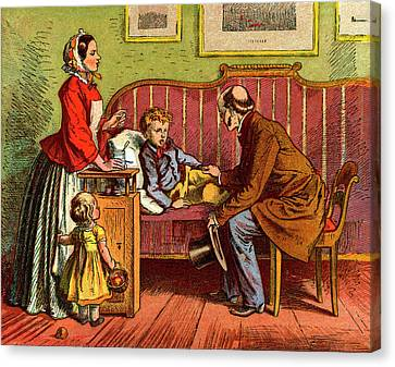 Sick Child Visited By The Doctor Canvas Print by Universal History Archive/uig