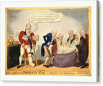 Sick Of The Property Tax Or Ministerial Influnza Canvas Print by English School