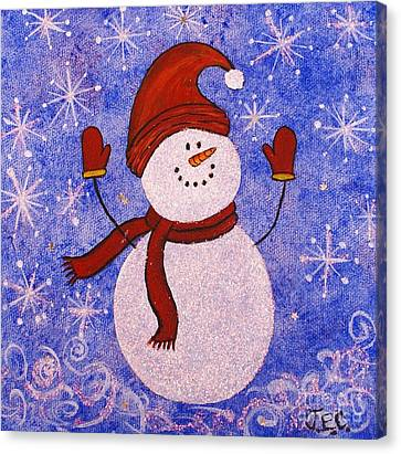 Canvas Print featuring the painting Sid The Snowman by Jane Chesnut