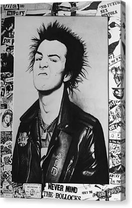 Sid Vicious Collage Canvas Print by Steve Hunter