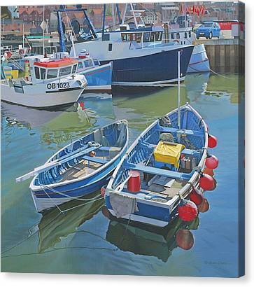 Side By Side In Whitby Harbour Canvas Print by Graham Clark