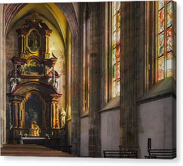 Medieval Temple Canvas Print - Side Chapel Of St Barbara by Joan Carroll