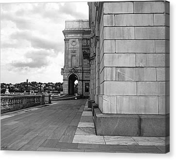 Cityhall Canvas Print - Side Entrance Bw by Lourry Legarde