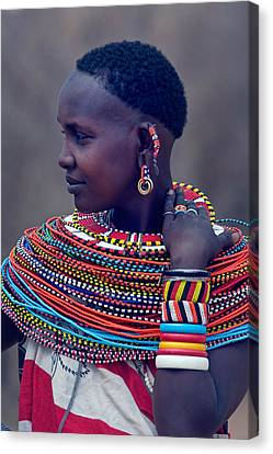 Side Profile Of A Samburu Tribal Woman Canvas Print