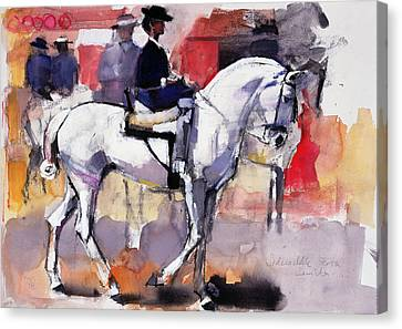 Side-saddle At The Feria De Sevilla, 1998 Mixed Media On Paper Canvas Print by Mark Adlington