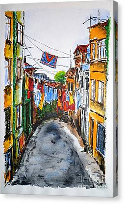 Side Street Canvas Print by Zaira Dzhaubaeva