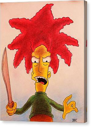 Sideshow Canvas Print - Sideshow Bob by Brent Andrew Doty