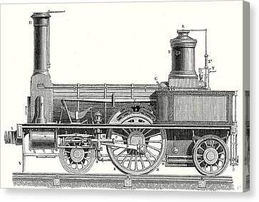 Sideview Of A Locomotive Showing The Mechanism Of The Engine Canvas Print