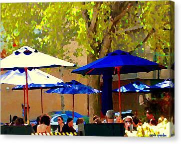 Sidewalk Cafe Blue Bistro Umbrellas Downtown Oasis Terrace Montreal City Scene Carole Spandau Canvas Print by Carole Spandau