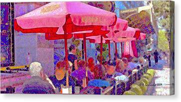 Canvas Print featuring the photograph Sidewalk Cafe Digital Painting by A Gurmankin