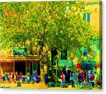 Sidewalk Cafe Rue St Denis Dappled Sunlight Shade Trees Joys Of Montreal City Scene  Carole Spandau Canvas Print by Carole Spandau