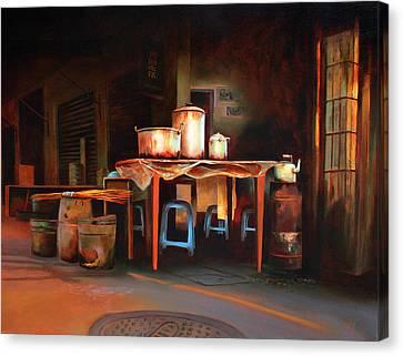 Sidewalk Cafe Canvas Print by Sue  Darius