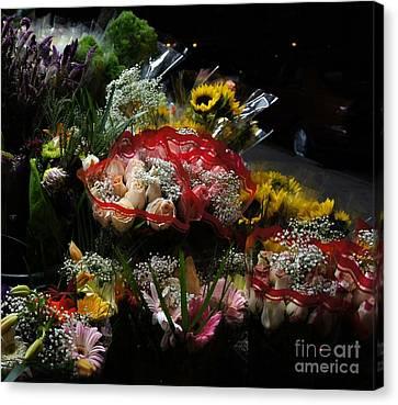 Canvas Print featuring the photograph Sidewalk Flower Shop by Lilliana Mendez