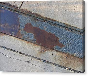 Crosswalk Canvas Print - Sidewalk Metal by Anita Burgermeister